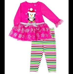 Nannette Pink Penguin Tutu Top & Stripe Leggings